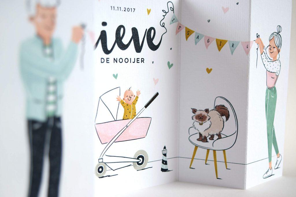 Close up ontwerp geboortekaartje Lieve door Renée van der Zanden
